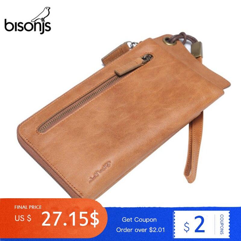 BISONJS 100% portefeuille en cuir véritable femmes sac à main longue pochette passeport couverture porte-carte porte-monnaie carteira feminina W4400