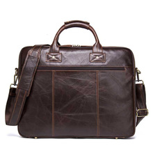 New Genuine mens Leather Briefcase laptop messenger bags Man Handbag Apply 15.6