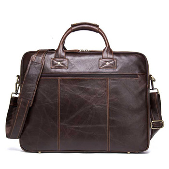 New Genuine Mens Leather Briefcase Laptop Messenger Bags Man Handbag Apply 15.6 Inch Portable Computer Business Affairs Designer