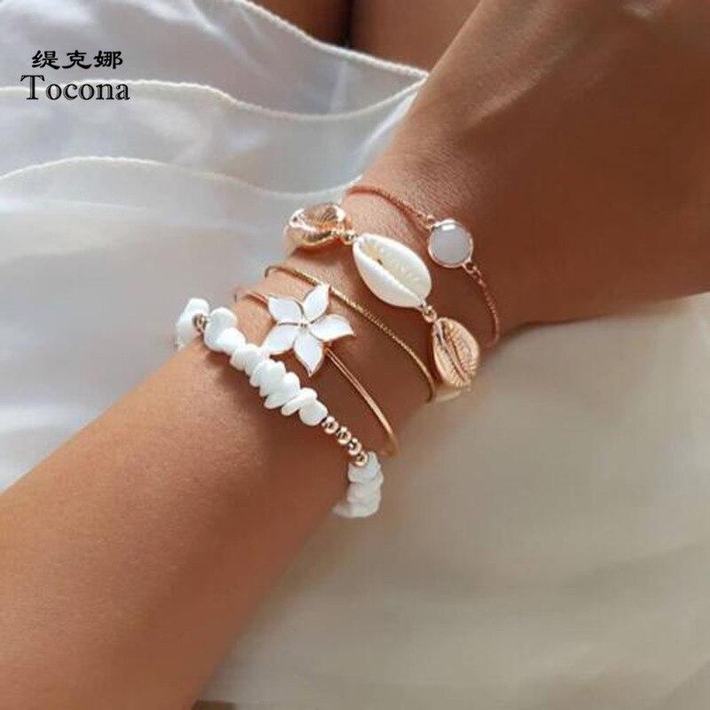 Tocona 5 шт./компл. Natutal браслеты с бусинами из камня для женщин, белые цветы, летняя ракушка, опал, морская бижутерия, оптовая продажа 9256