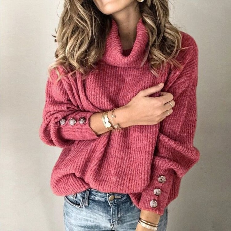 Plus Size 5XL Casual Turtleneck Warm Knitted Sweater Autumn Winter Long Sleeve Pullover Tops Elegant Women Rivet Button Jumper
