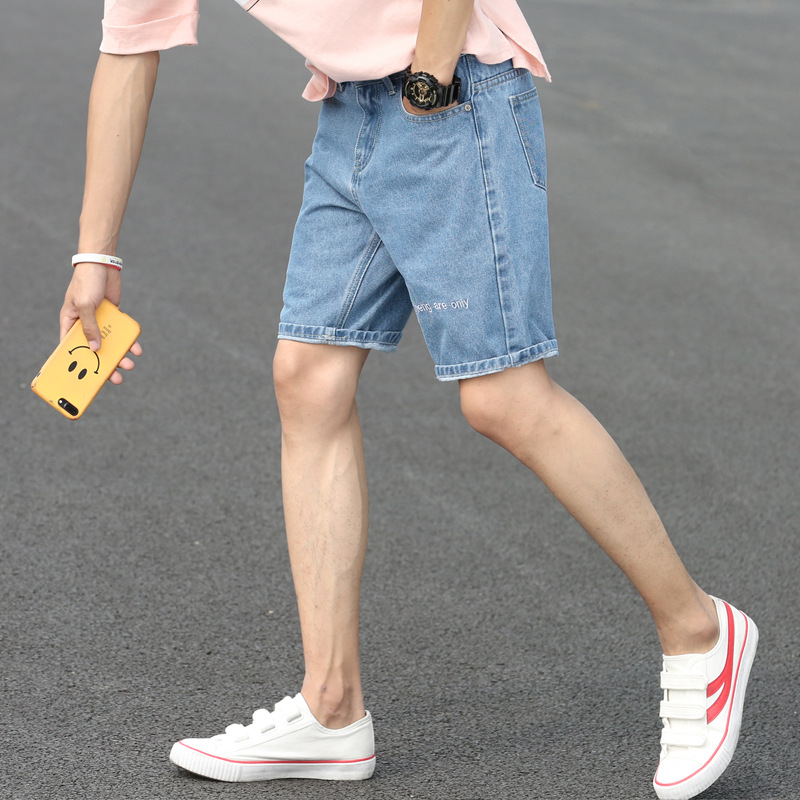 Denim Shorts Male Fifth Pants 2019 Summer New Style Korean-style Trend Men Straight-Cut Embroidered Thin Pants