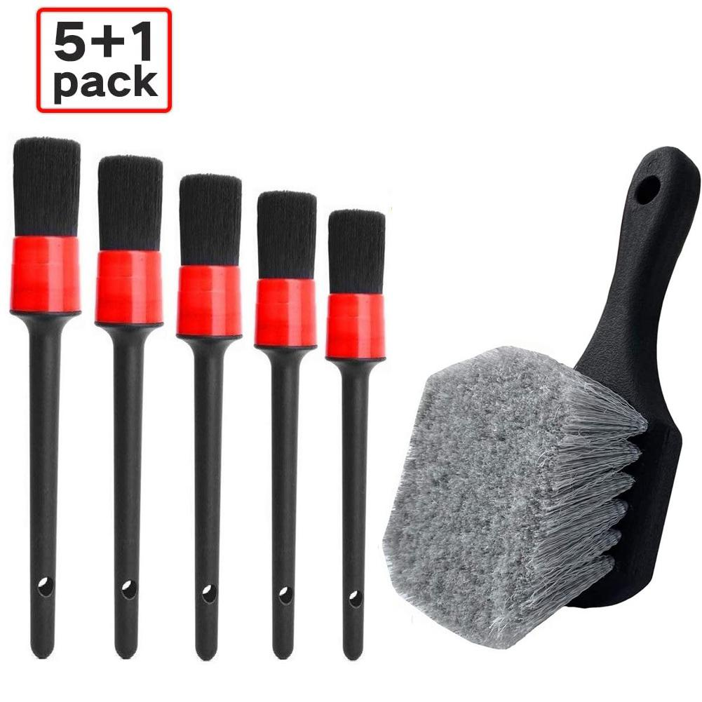 6PCS Car Wash Brush Detailing Brush for Wheel Tire Dashboard Air Outlet Soft Bristle Cleaning Brush Detail Brushes Car Care Tool