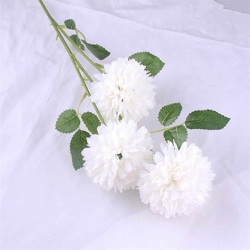3 ראש שן הארי זר חרצית חדש סגנון חתונה עיצוב הבית מלאכותי פרחי משי פרחי יוקרה בית תפאורה
