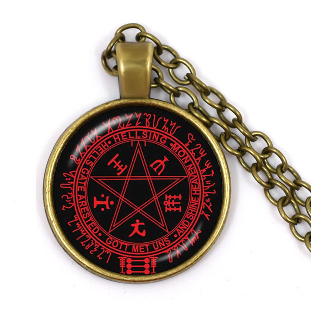 Bronze pentagrama pingente colares de cabochão de vidro vermelho camisola corrente jóias satanismo gótico jóias collier femme presente