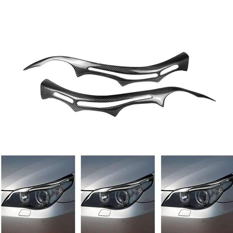 Car sticker is suitable for BMW e60 headlight decoration 5 series carbon fiber headlight lamp eyebrow car exterior accessories