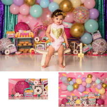 Donuts Theme Cake Smash Photography Backdrop Girl 1st Birthday Colorful Curtain Pink Balloon Decor Backgrounds for Photo Studio