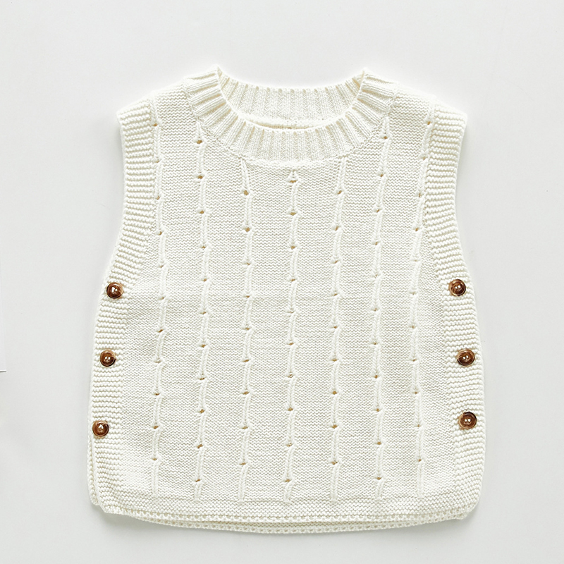 Autumn Newborn Baby Boys Girls Cotton Knitted Sleeveless Vest Cute Solid Sweater Knitted Vest Coat Korean Japan Style 3