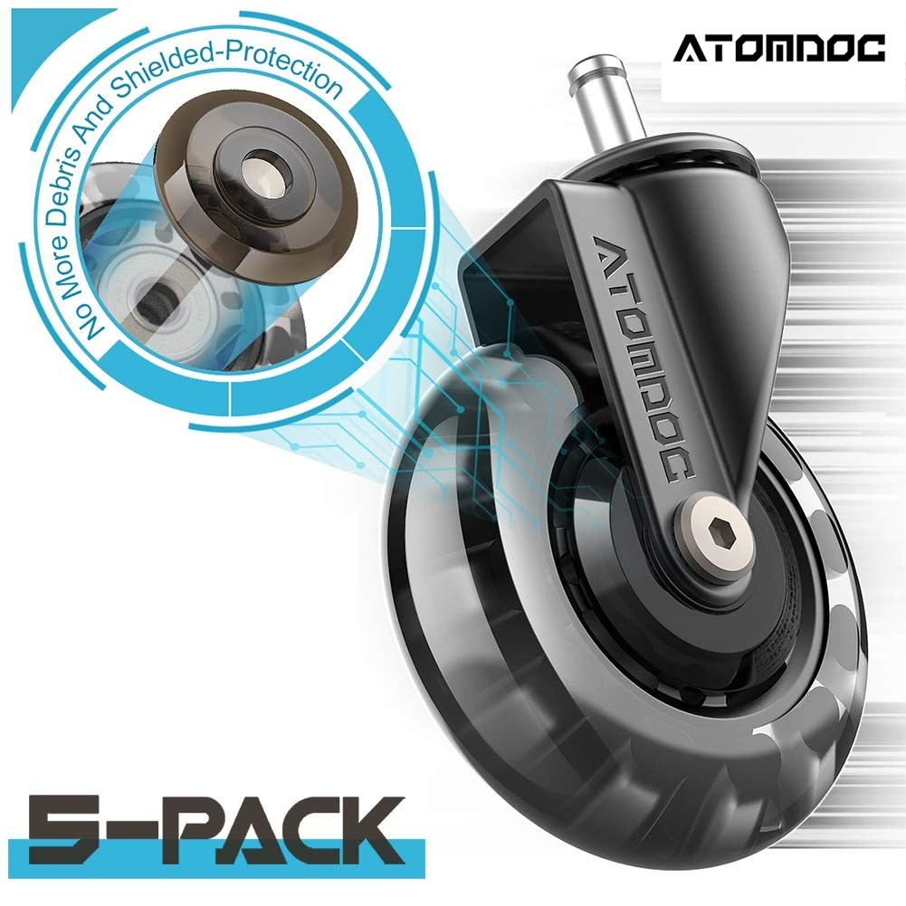 """ATOMDOC 3"""" Office Chair Caster Wheel Standard Replacement Casters Rubber Soft Safe Roller Furniture Wheel Hardware Safe Protect"""