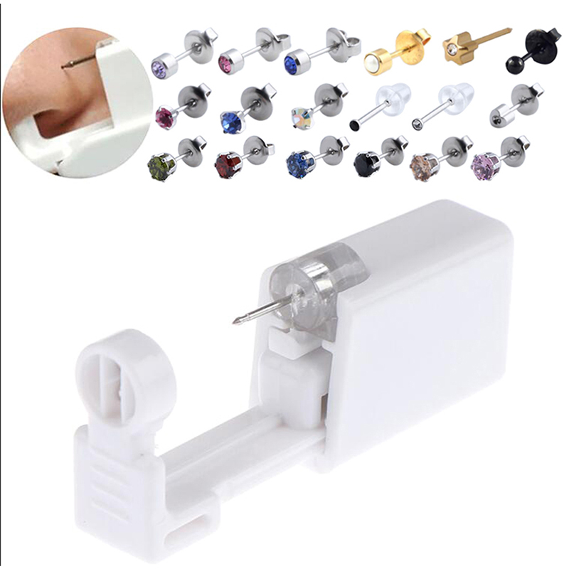 1PC Earring Star Disposable No Pain Safe Sterile Ear Stud Piercing Gun Kit Nose Stud Piercing Tool Kit Build In Steel Stud