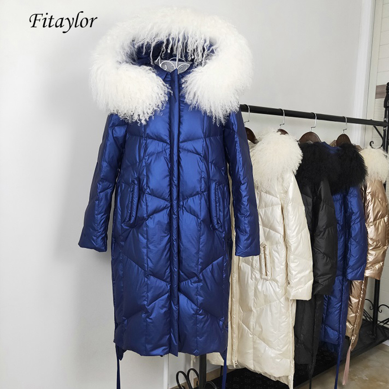 Fitaylor Winter Women Hooded White Duck Down Parka Large Natural Fur Collar Down Long Jackets Casual Female Snow Thick Outerwear