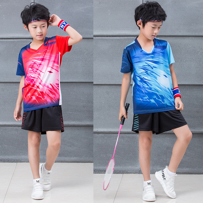 2019 Summer New Style Short Sleeve Tennis Clothes Set Men And Women Children Students Quick-Dry Jersey Racing Suit Training Unif