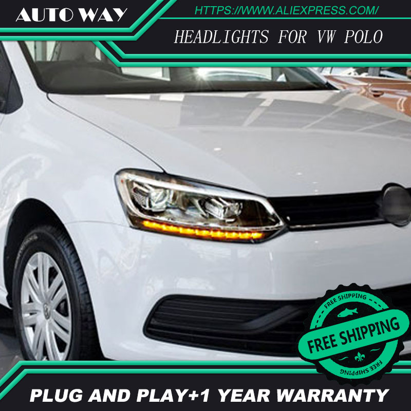 Car Styling <font><b>H7</b></font> Head Lamp case for <font><b>VW</b></font> <font><b>polo</b></font> <font><b>Headlights</b></font> <font><b>VW</b></font> <font><b>polo</b></font> <font><b>Headlight</b></font> 2011-2017 <font><b>LED</b></font> <font><b>Headlight</b></font> DRL Lens Double Beam Bi-Xenon image