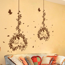 [Dreamarts] Wreath Birds Wall Sticker PVC Material DIY Mural Art for Living Room Sofa Background Decoration Home Decor