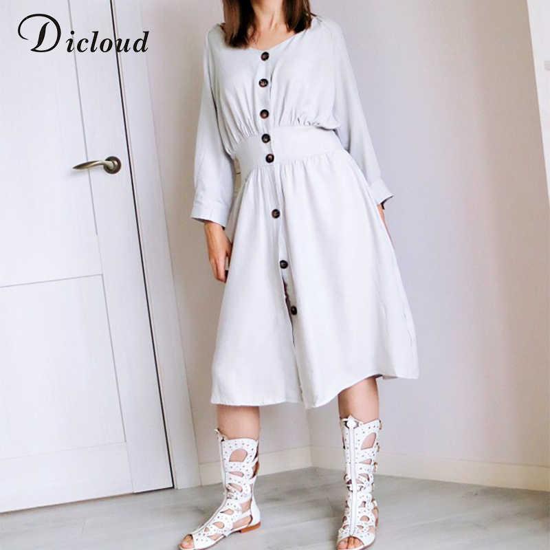Dicloud מזדמן לבן פשתן שמלות נשים קיץ 2020 אופנה v צוואר סקסי midi שמלת חוף מסיבת לעטוף ארוך שמלות נקבה
