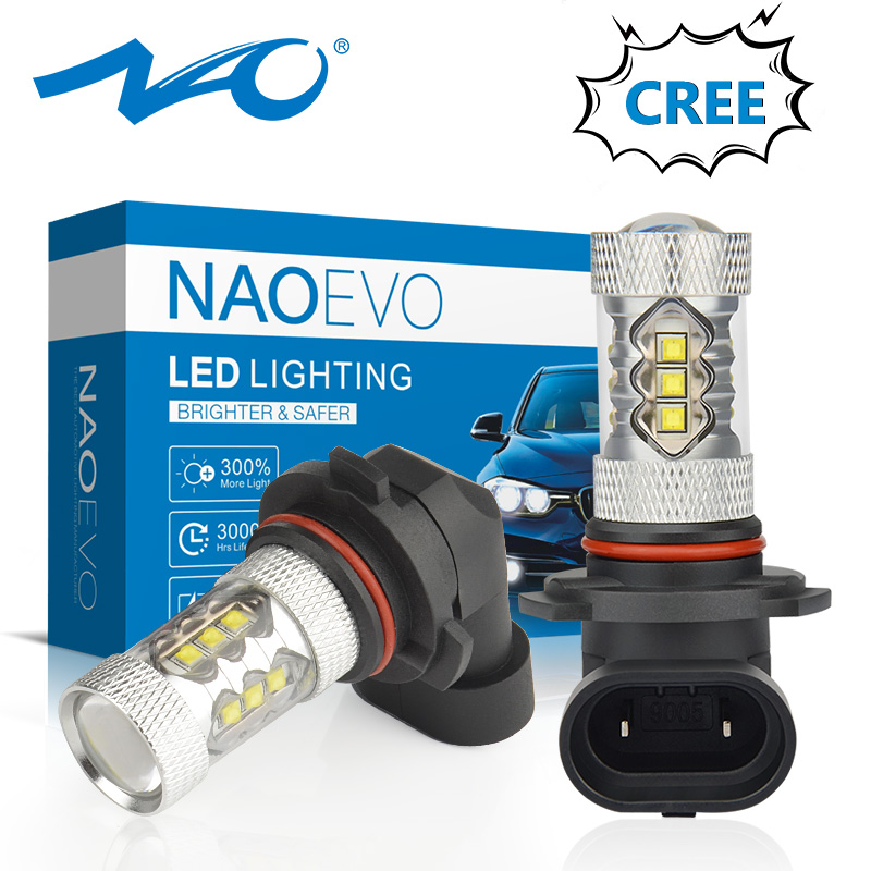 NAO H11 Led 9005 HB3 9006 HB4 Fog Lights H8 H10 12V 16SMD CREE Chip DRL 1600lm Car LED H9 80W Auto Bulb 6000K White Lamp