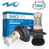 NAO H11 led 9005 HB3 9006 HB4 fog lights H8 H10 12V 16SMD CREE Chip DRL 1600lm Car LED H9 80W Auto Bulb 6000K White Lamp