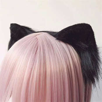 Handmade Anime Neko 3 Colors Realistic Fur Cat Ears Headband Cosplay Anime Costume Halloween Birthday Party Hair Accessories