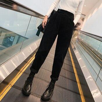 autumn winter Corduroy Pants women high waist pockets trousers women plus size 2019 streetwear Harem pants pantalon femme 4