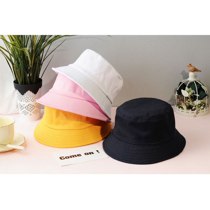 Hot Women's Summer Beach Sun Hat Fashion Solid Color Cotton Soft Breathable Elastic Sunscreen Headwear Hat Party Bucket Hat