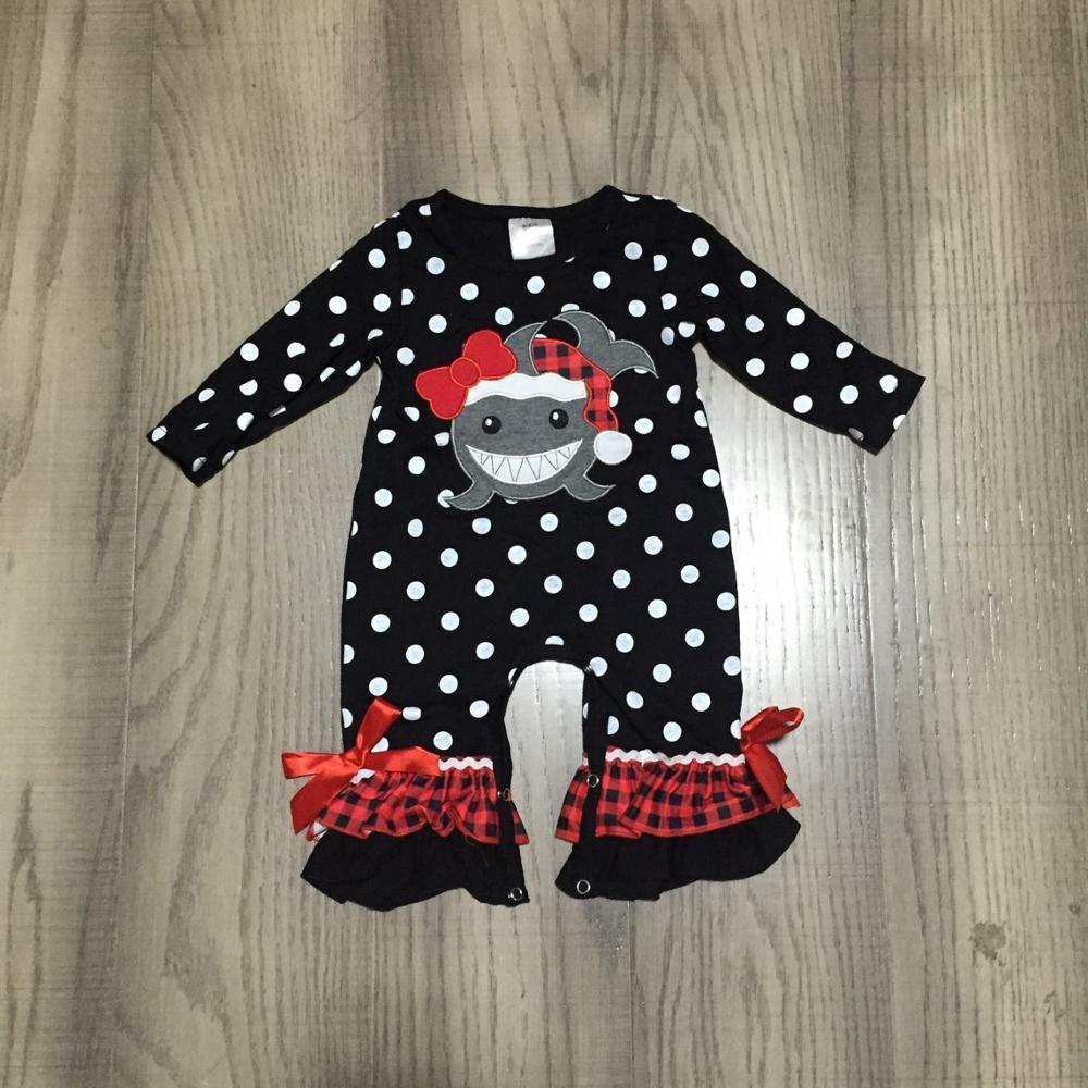 Girlymax Christmas fall/winter baby girls boys girls shark stripe outfits pants set top raglans romper ruffles match accessories 4