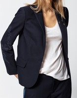 New Women Blazer Rhinestone Star Pattern Single Button Office Ladies Fashion Suit Coat