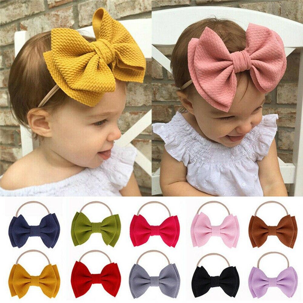 Baby Toddler Girl Kids Hair Clips Ribbon Bow Satin Bowknot Headband Gifts C
