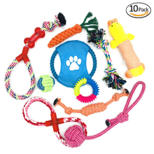10 Pcs Popular Pet Dog Cat Funny Set Of Fun Combination Plush Toys Sound Toy Durable Braided Bone Rope Fit For All Pets