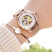 Relógio mecânico feminino, relógio mecânico automático tipo esqueleto rosa montre femme