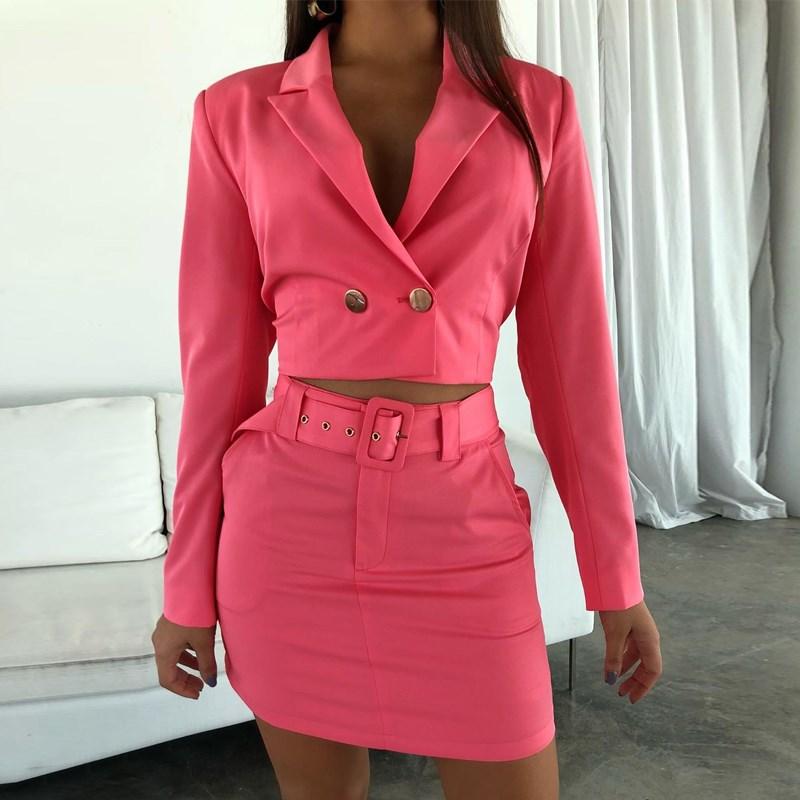 2019 New Women Autumn Long Sleeve Crop Sets Streetwear Short Solid Blazer Set V-Neck Button Sexy With Belt Skirt Sets