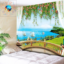 цена на Psychedelic Tapestry Flowers Boho Decor Mandala Wall Hanging Hippie Wall Tapestry Outside the Window Sea Bedroom Dorm Wall Art
