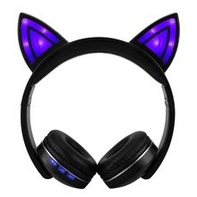 Bright Light Cat Ear Headphones Bluetooth Wireless Cat Ear Foldable Stereo Gaming Headset for PC Gamer yijee cat ear led headphones with led flashing glowing light headset gaming earphones for pc computer and mobile phone