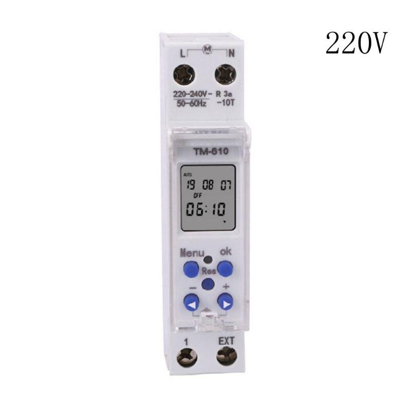 Nuevo TM610 220 V/110 V interruptor temporizador módulo único carril DIN 7 días 24 horas programable Ultra grande, pantalla de 3