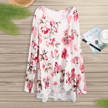 Long Sleeve Shirts Cotton Tee Shirt Tops Women Floral Solid Lace Hem Casual Loose Fit T-shirt Tops Fashion Ladies Autumn Shirt twist dip hem solid tee