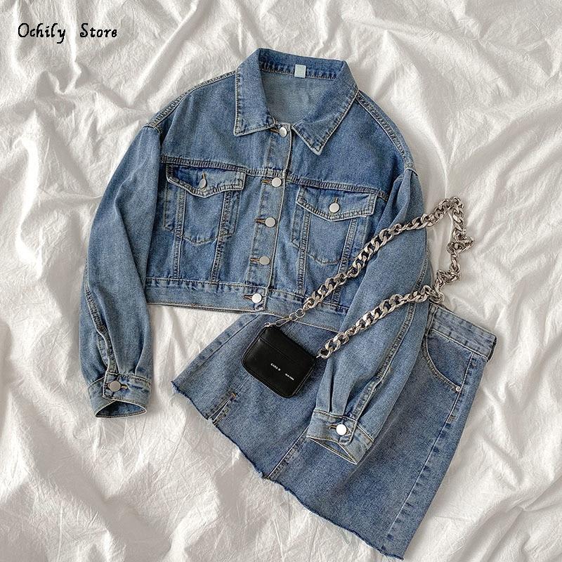 Two-piece suit women's summer 2021 new Korean denim jacket + high waist denim skirt