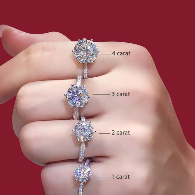 925 เงินสเตอร์ลิง Moissanite แหวนสไตล์คลาสสิกรอบตัดแหวนแถวเดียวเพชรแหวน 1CT 2CT 3CT