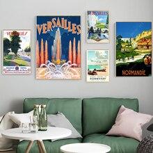 Francia Normandía Versalles viajes lienzo cuadros Vintage carteles Kraft recubierto pared pegatinas hogar Decoración regalo