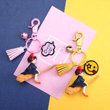 Japanese Anime Key chain Hayao Miyazaki Cute Witch Delivery Service Girl Kiki Figure Model PVC Doll Keyrings Gift for Bag Penda недорого