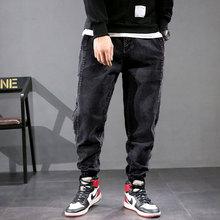 Big Size 28-42 Fashion Designer Men Jeans Loose Fit Black Color Slack Bottom Denim Cargo Pants Streetwear Hip Hop