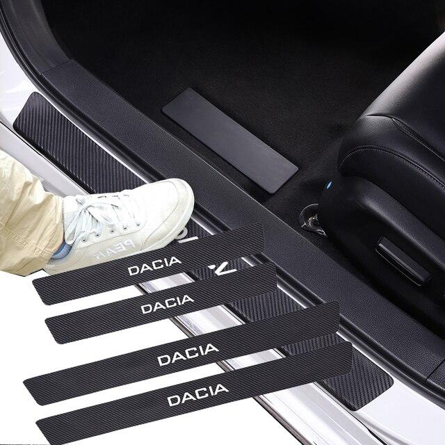 4 قطعة سيارة ألياف الكربون عتبة الباب عتبة ملصق ل داسيا داستر لوجان سانديرو Stepway Lodgy Dokker