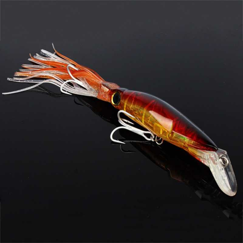 1 Uds 14cm 40g barba cebo Combo calamar señuelo falda pulpo de señuelos de pesca de arrastre pesca con cebo duro señuelos, aparejos de pesca