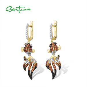 Image 2 - SANTUZZA כסף זהב דגי עגילים לנשים 925 כסף סטרלינג להתנדנד עגילי מעוקב Zirconia brincos תכשיטים