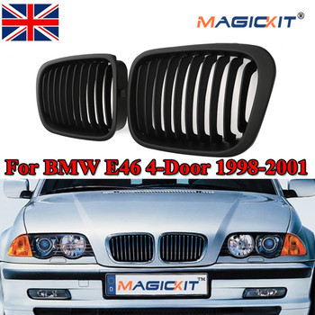 MagicKit Car Racing Grills Matte Front Kidney Grille for BMW 3-Series E46 Coupe 316i 318i 323i 320i 1998 1999 2000 2001 Facelift image