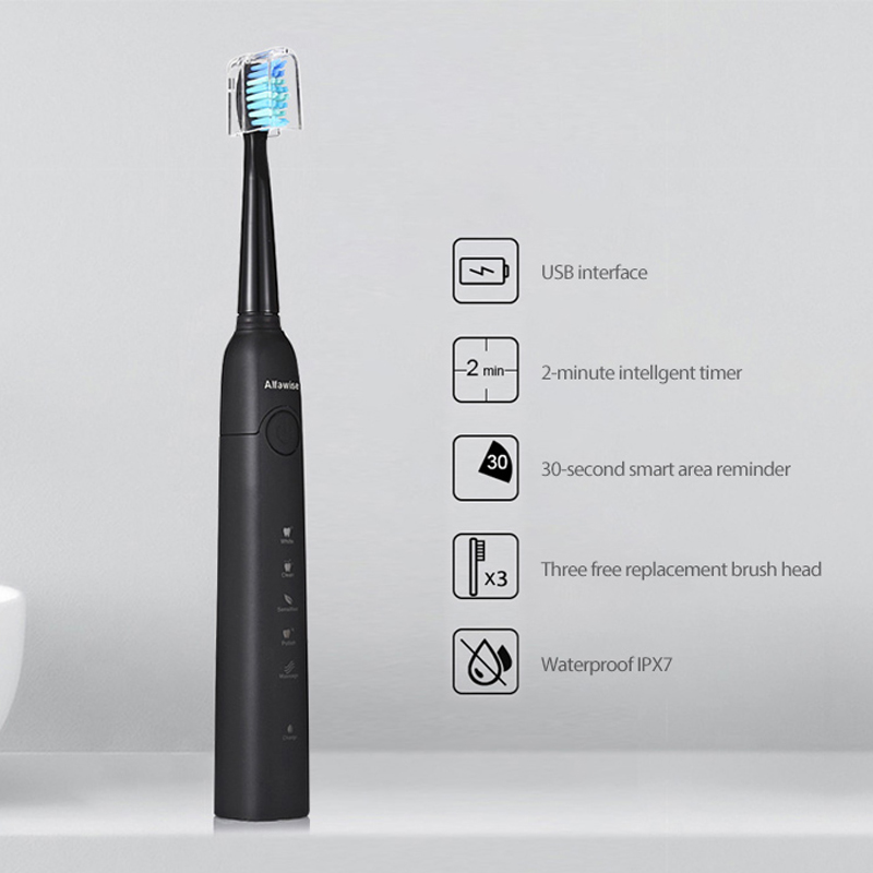 Alfawise SG-949 Sonic USB Charging Electric Toothbrush With Smart Timer Five Brushing Modes Waterproof With 3 Tooth Brush Heads
