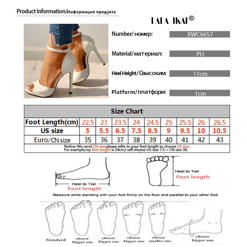 LALA IKAI 2020 kadın yaz sandalet moda pompaları yüksek topuklu artan Stiletto burnu açık siyah beyaz kırmızı ayakkabılar XWC6657 -4