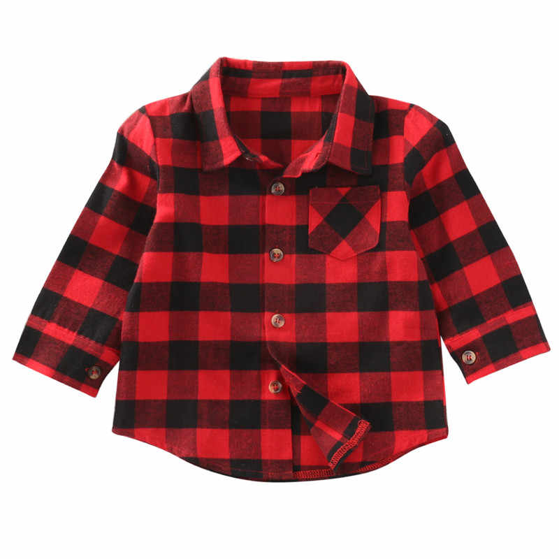 Christmas Baby Kids Boys Girls Long Sleeve Shirt Red Checks Plaids Tops Blouse Clothes Outfits 1-7Y