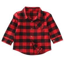 Christmas Baby Kids Boys Girls Long Sleeve Shirt Red Checks Plaids Tops