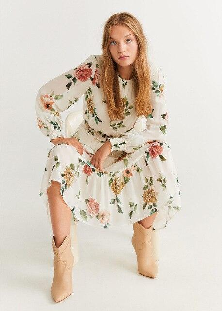 2020 Spring Summer New Grand Prix Flowers Print zaraing women Dress vadiming sheining female Dress vintage plus size XDN9236 1