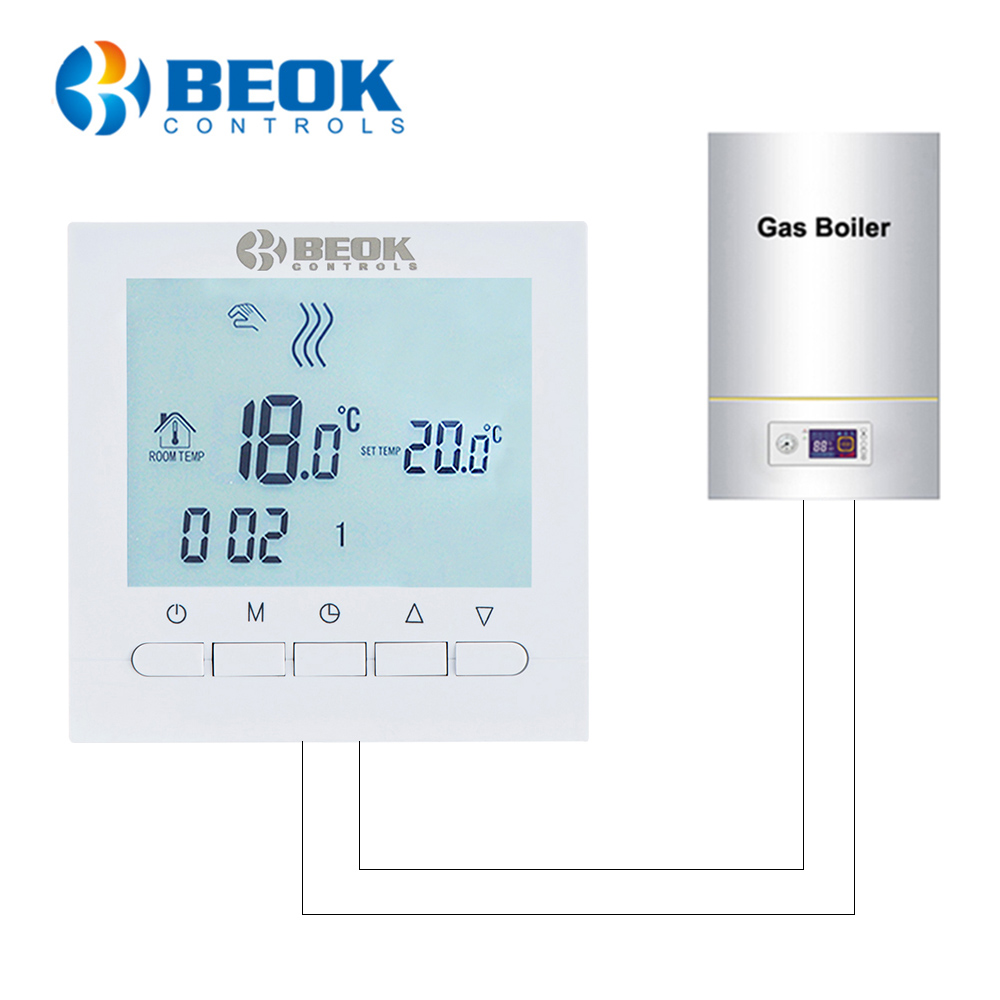 Beok Wired Digital Room Thermostat For Gas Boiler Heating Thermostat 3A Programmable Boiler Thermoregulator Battery Powered