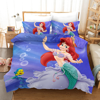 Lanke 3D Mermaid Bedding Set,Twin Full Queen king size bedding set  Cotton bed sets  No Filler